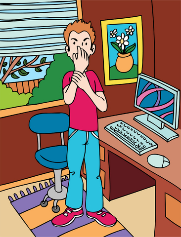 cartoon of man with carpel tunnel syndrom from working on a computer