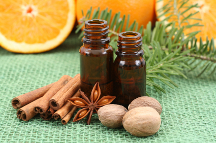 essential oil with cinnamon oranges spruce