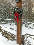 wreath on post outdoors
